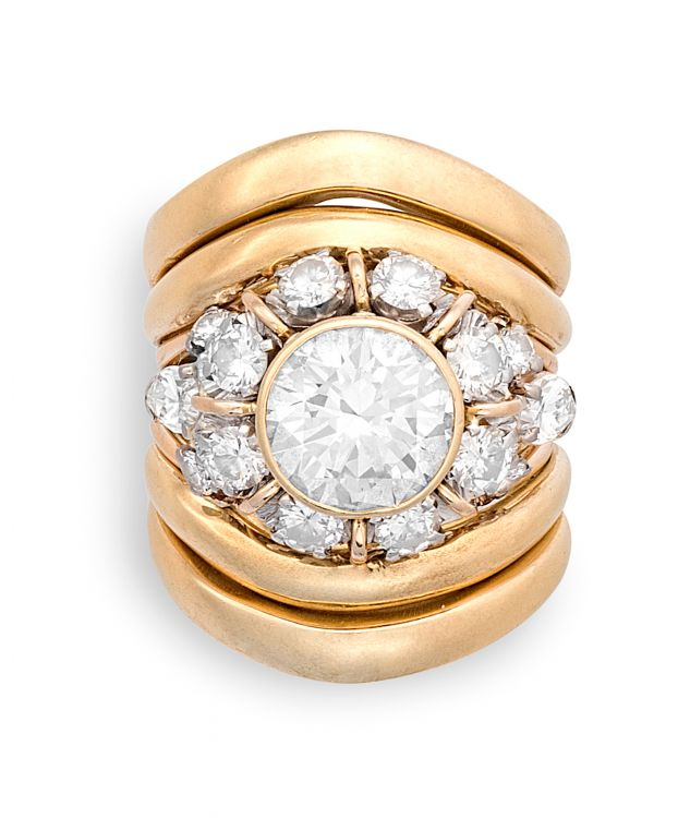 Diamond and gold dress ring