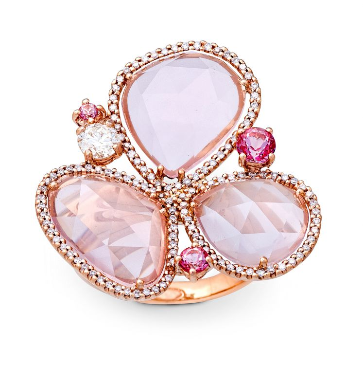 Rose quartz, pink sapphire and diamond ring