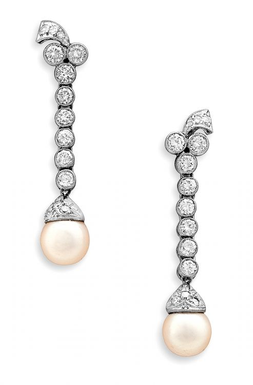 Pair of diamond and pearl pendant earrings