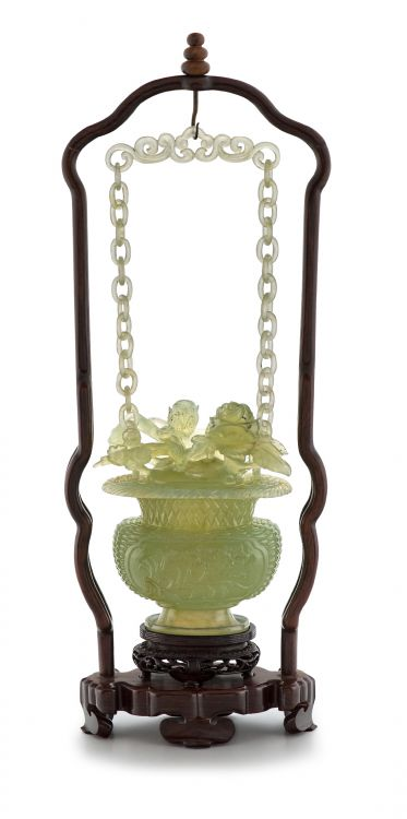 A Chinese green jade hanging vase and cover, 20th century