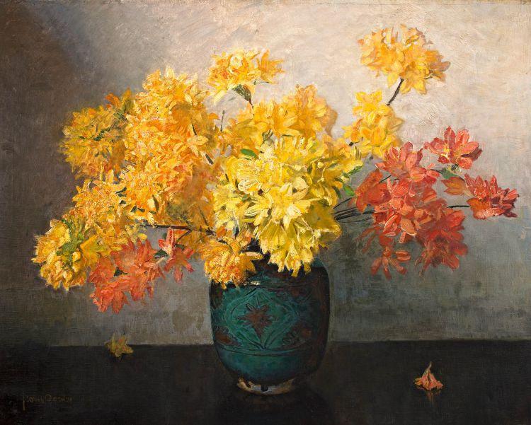 Frans Oerder; Azaleas in a Vase