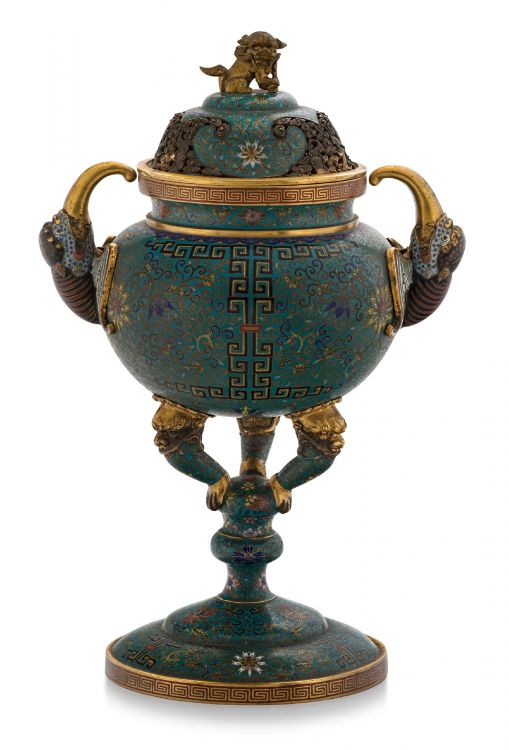 A Chinese cloisonné enamel censor and cover, Lao Tian Li Shi incised marks, late 19th/early 20th century