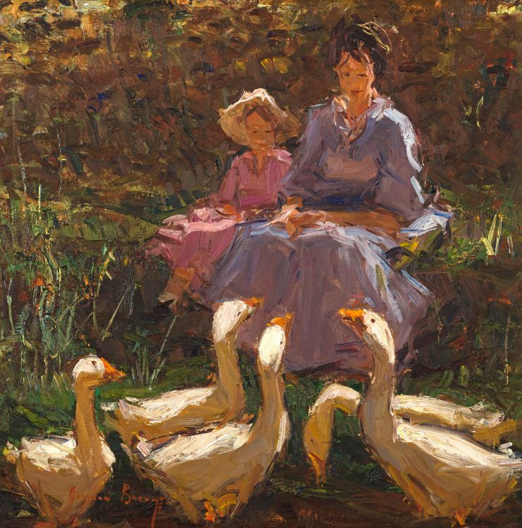 Adriaan Boshoff; Mother and Child with Geese