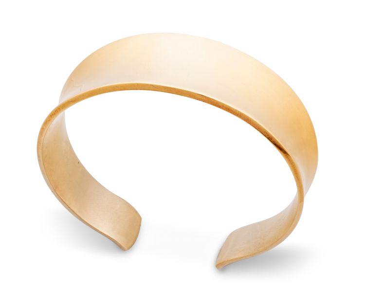 18ct gold polished flat cuff bangle