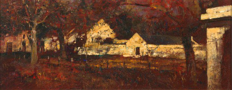 Errol Boyley; Farm Buildings at Dusk