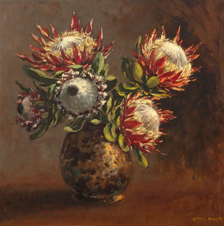 Otto Klar; Proteas in a Vase