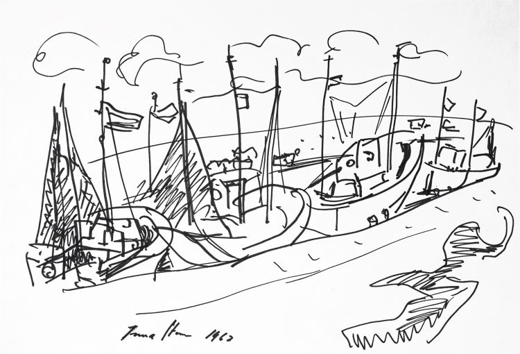 Irma Stern; Moored Sailing Boats