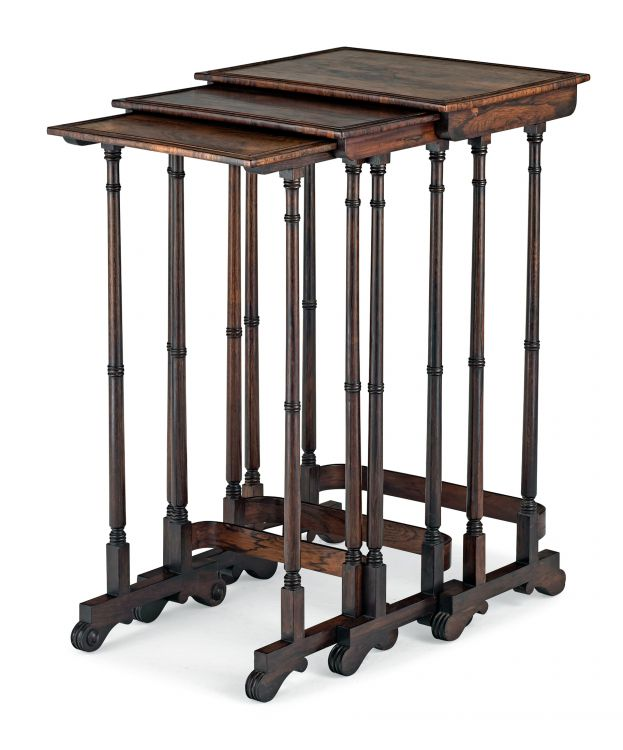 A nest of three Regency rosewood occasional tables