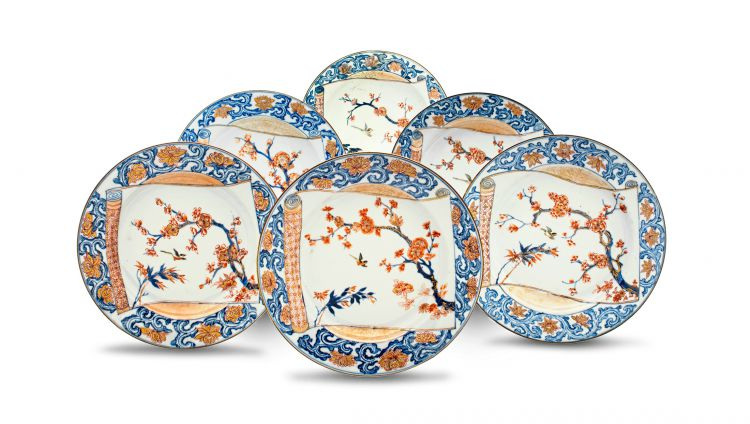 A set of six Chinese 'Imari' Export plates, Qing Dynasty, 18th century