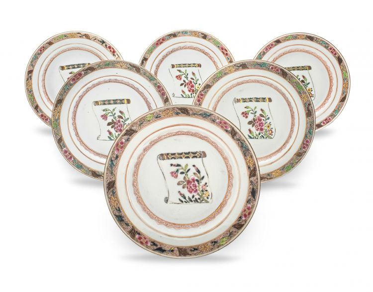 A set of six Chinese Export 'famille-rose' plates, Qing Dynasty, 18th century