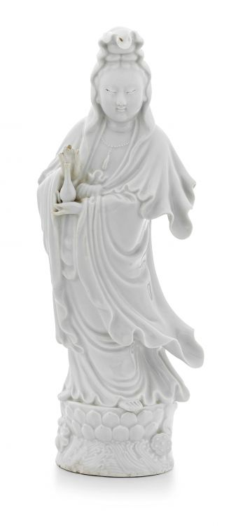 A Chinese 'blanc de chine' figure of Guanyin, Qing Dynasty, 19th century