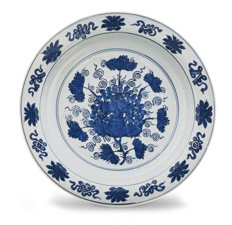 A Chinese blue and white dish, Ming Dynasty, 1368-1644