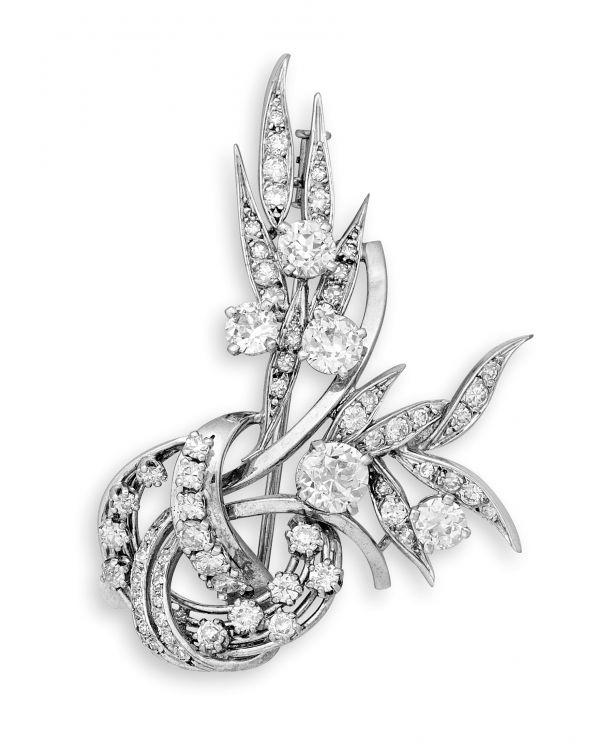 French diamond-set brooch