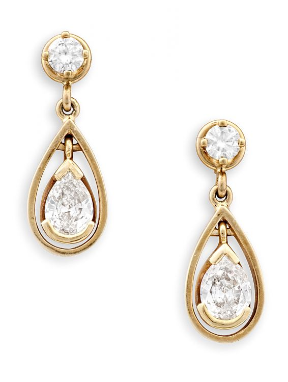 Pair of diamond and gold pendant earrings