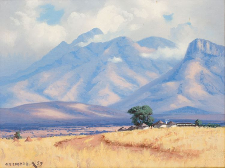 Willem Hermanus Coetzer; Landscape with Mountains