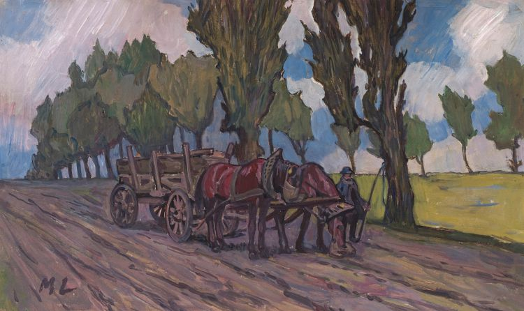 Maggie Laubser; Horsecart with Trees