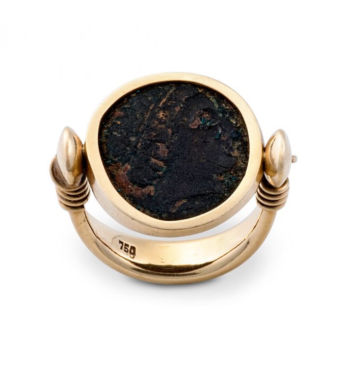 Ancient bronze coin gold ring