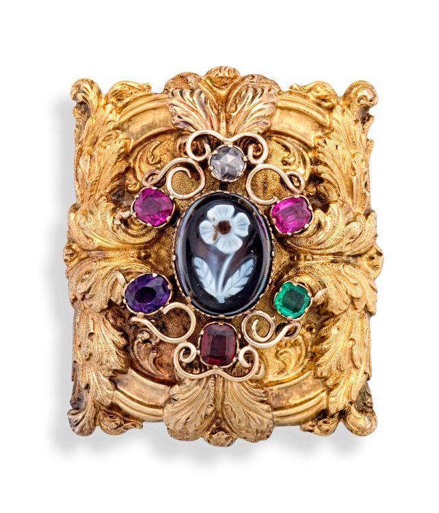 19th century 'Regard' gold brooch
