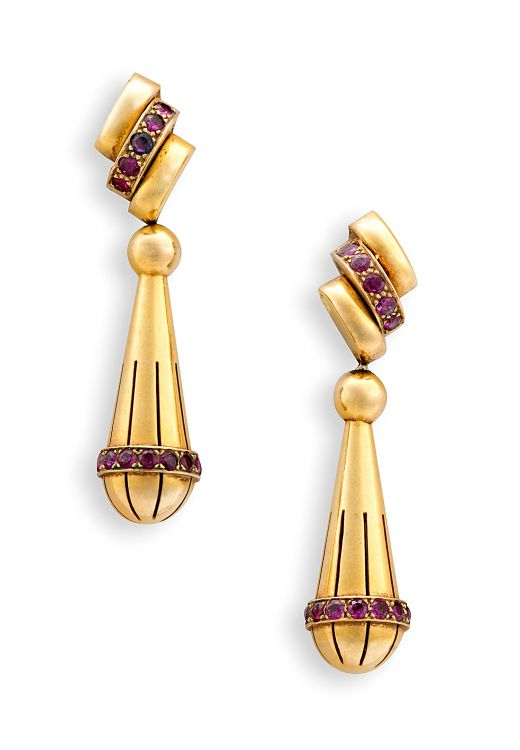 Pair of ruby and gold pendant earrings, 1940s