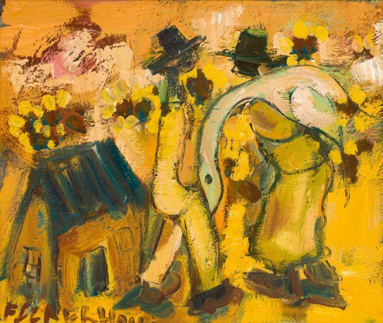 Frans Claerhout; Men Carrying a Goose