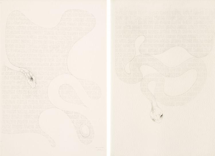 Judith Mason; House Snakes, diptych