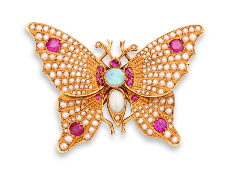 Gem-set butterfly brooch