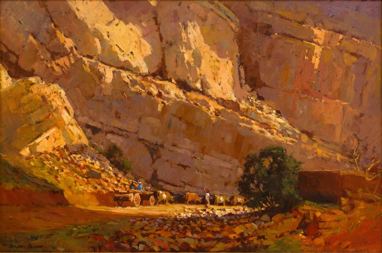 Adriaan Boshoff; Cattle and Wagon in Landscape