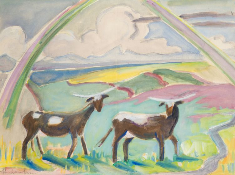 Maggie Laubser; Cows and Rainbow