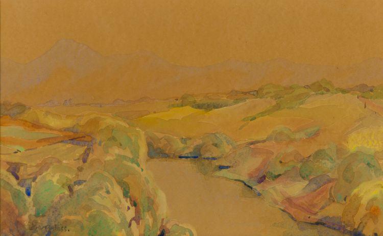 Walter Battiss; Landscape with Stream