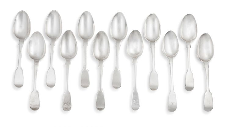 A set of eight Cape silver Fiddle pattern dessert spoons, William Moore, mid-19th century