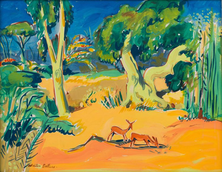 Walter Battiss; Landscape with Antelope