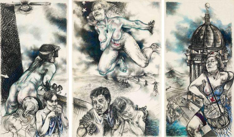 Diane Victor; No Hope, No Guts, No Glory, triptych