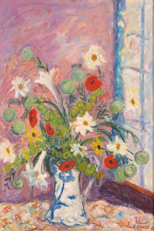 Kenneth Baker; Flowers by a Window