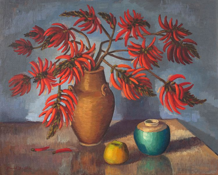 David Botha; Still Life with Coral Tree Branches in a Vase
