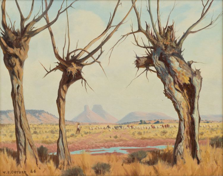 Willem Hermanus Coetzer; Herdsman in a Landscape
