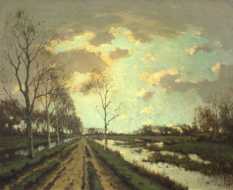 Tinus de Jongh; Winter Landscape with Canal