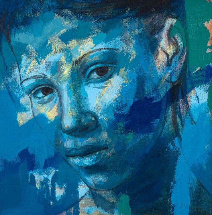 Lionel Smit; Portrait in Blue