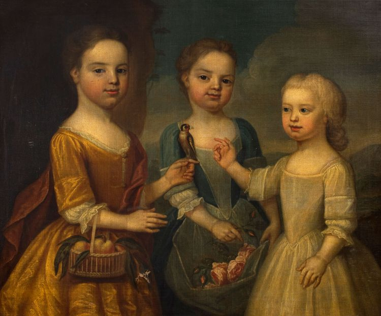 English Provincial School; A Portrait of Three Sisters, One Holding her Pet Bird