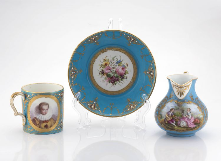A 'Sèvres' cabinet coffee can and saucer, 19th century