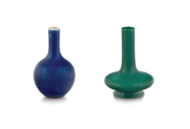 A Chinese cobalt-blue glazed bottle vase, Qing Dynasty, 19th century