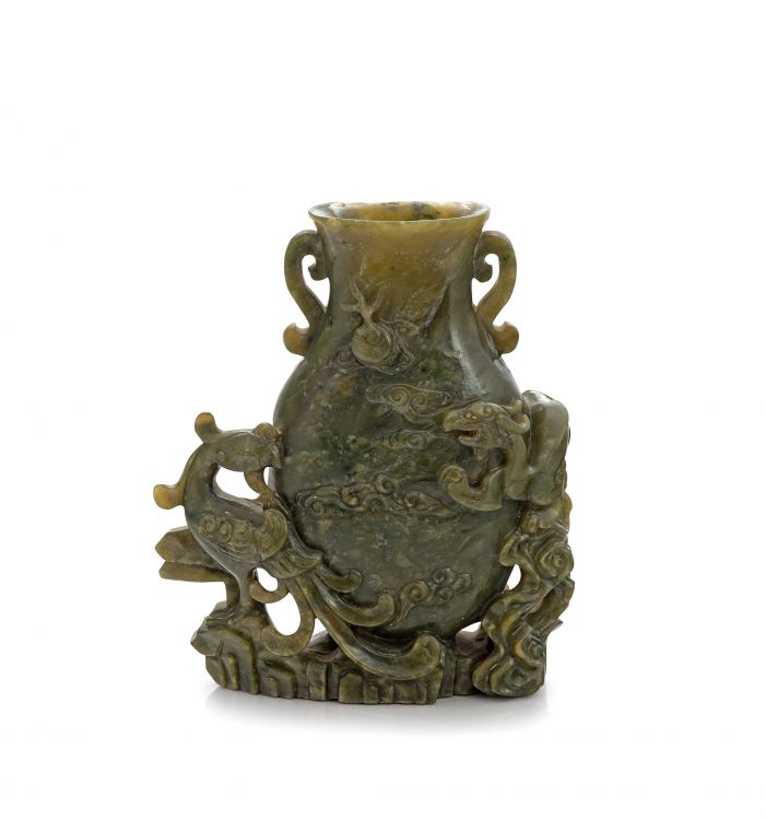 A Chinese celadon jade two-handled vase, late Qing Dynasty