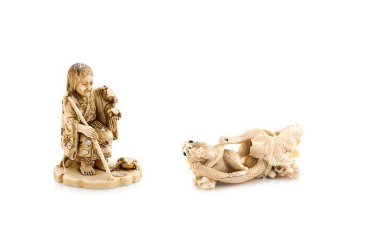 An ivory and shibayama okimono of a Gamma Sennin, 19th century