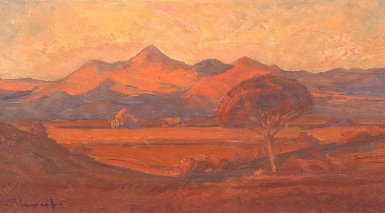 Jacob Hendrik Pierneef; Landscape with Tree and Mountains