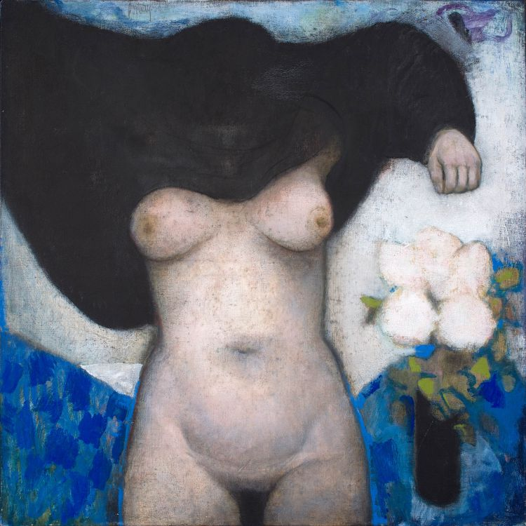 Douglas Portway; Nude with a Vase of Flowers