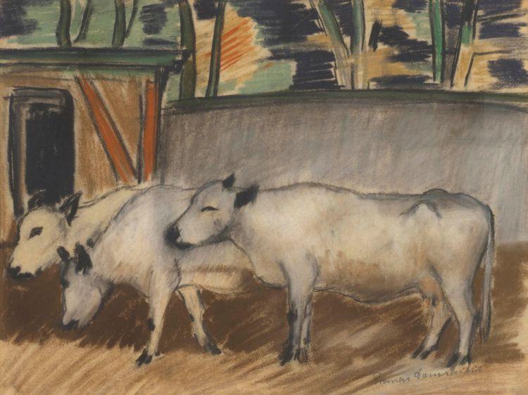 Pranas Domsaitis; Three Cows in a Pen