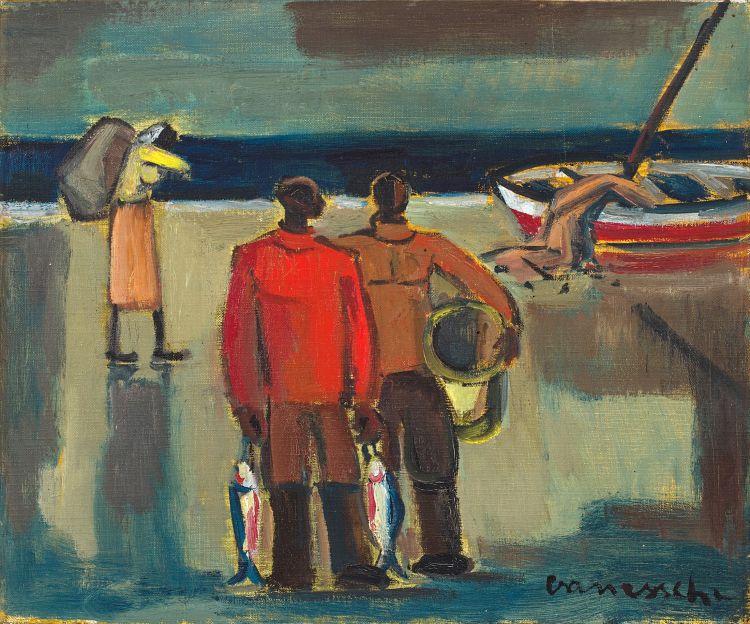 Maurice van Essche; Fishermen on a Beach