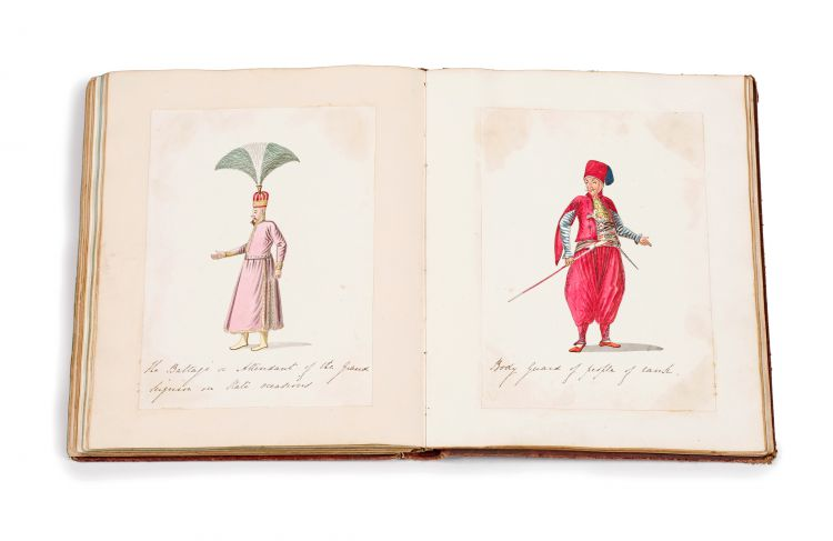 Circle of Count Amedeo Preziosi; An album containing 51 drawings, watercolours and prints; including 20 watercolours from the Circle of Amedeo Preziosi, illustrating various dignitaries within the court of the Sultan, gilt-tooled leather bound