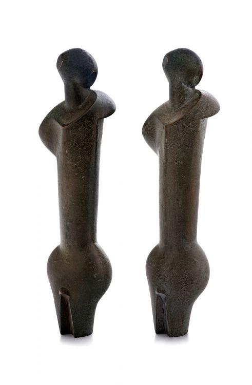 Edoardo Villa; Standing Figures, two door handles
