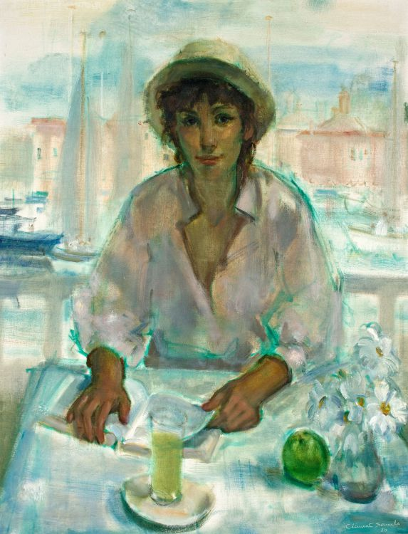 Clement Serneels; Woman Reading with a View of Yachts