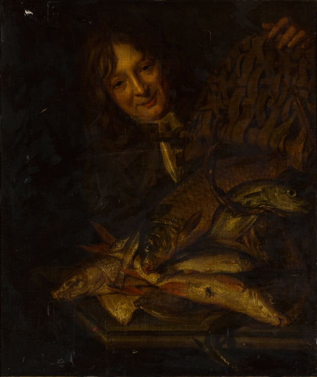 Attributed to Isaac van Duynen; Man with Basket of Fish